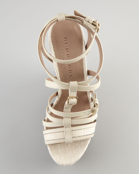 Strappy Leather Wedge Sandal, Pale
