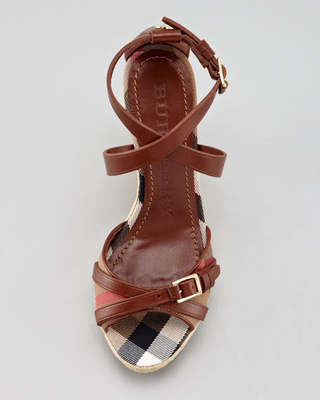 Bridle Leather and Cotton House Check Espadrille