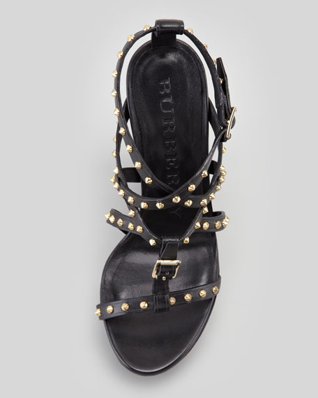 Studded House Check Wedge Sandal