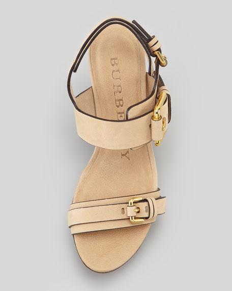 Soft Nubuck Aviator Wedge Heel Sandal, Sand