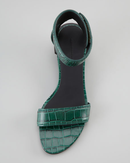 Vika Crocodile-Print Low-Wedge Sandal