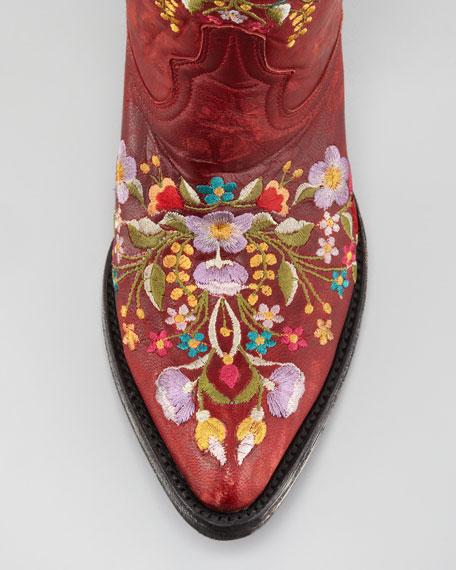 Sora Floral Embroidered Cowboy Bootie, Red/Violet