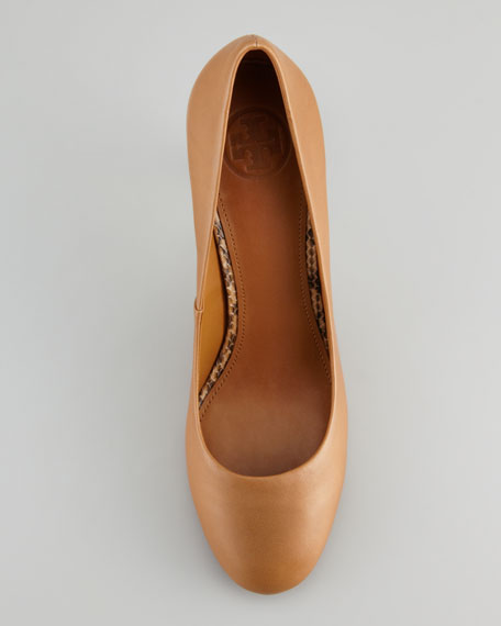 Mabel Watersnake-Heel Leather Pump, Royal Tan