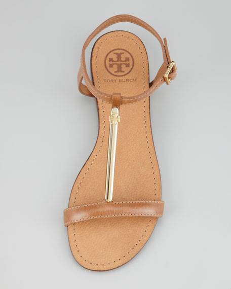 Pacey Gold-Bar Flat Sandal