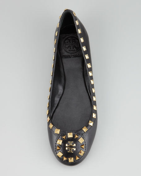 Dale Studded Ballerina Flat, Black