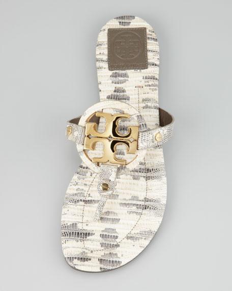 Miller2 Snake-Print Thong Sandal, Natural