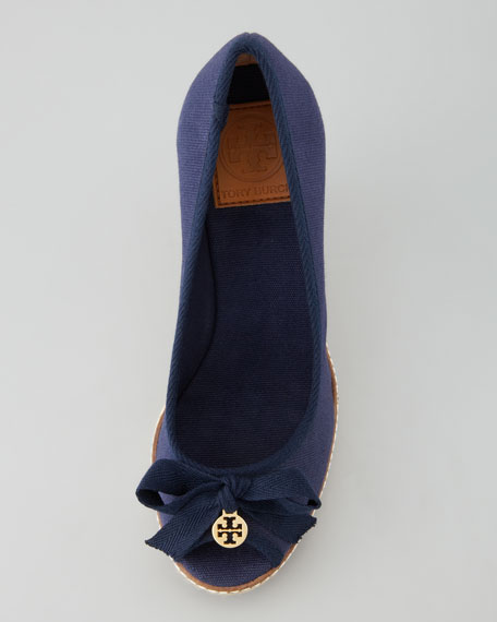 Jackie Peep-Toe Espadrille Wedge, Navy