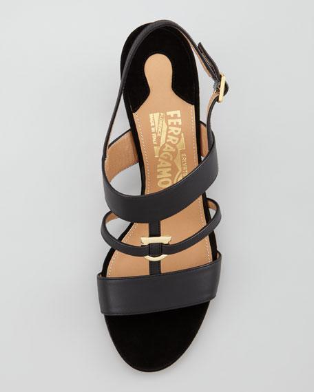 Sloan Gancini Mid Sandal, Black