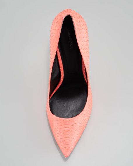Watersnake Pointed-Toe Pump, Flamingo