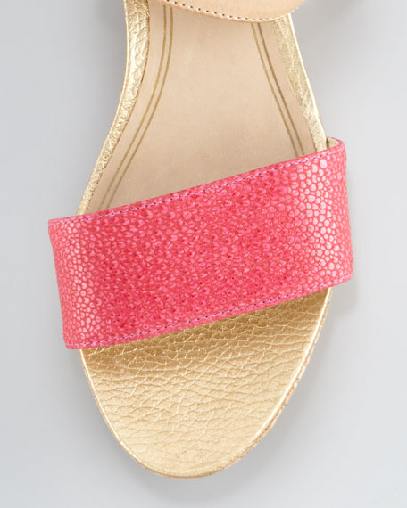 Forrest Cork Wedge Sandal, Hot Pink