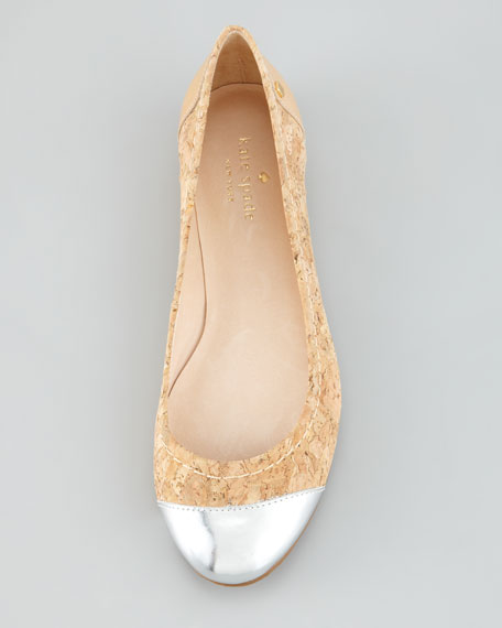 terry cork cap-toe ballerina flat, natural/silver