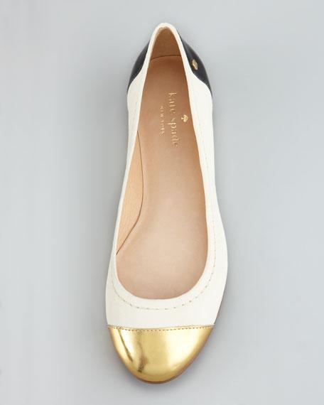 terry leather cap-toe ballerina flat