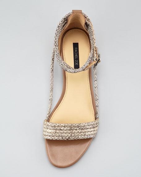 Georgie Snakeskin-Tubed Flat Sandal
