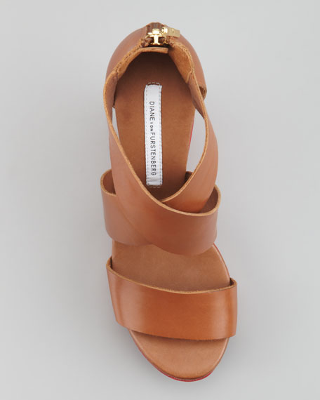 Opal Crisscross Wedge, Cuoio