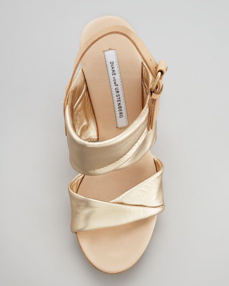 Ophelia Metallic Wedge Sandal