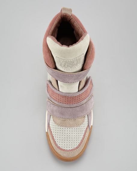 Colorblock Suede Wedge Sneaker, Sabbia
