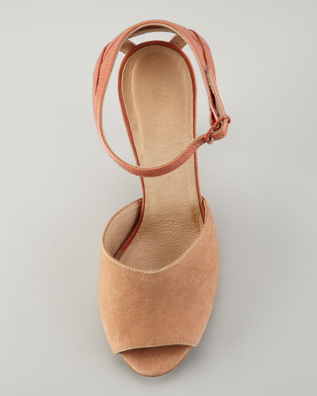 Cage-Counter Peep-Toe Sandal, Tan