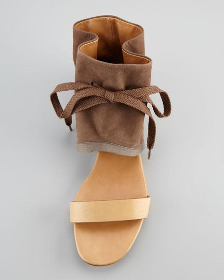 Ruched Ankle-Cuff Flat Sandal, Khaki
