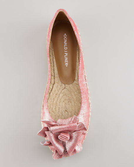 Maria Shimmery Espadrille Flat, Coral Pink