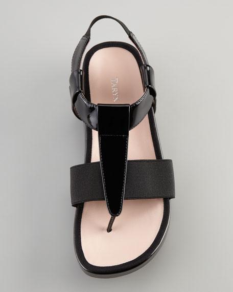 Adam Elastic Patent Thong Sandal, Black