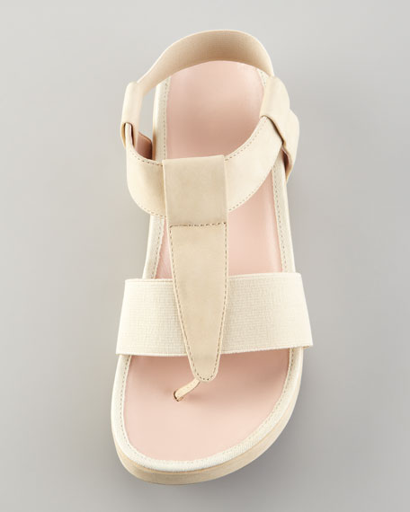 Adam Elastic Leather Thong Sandal, Nude
