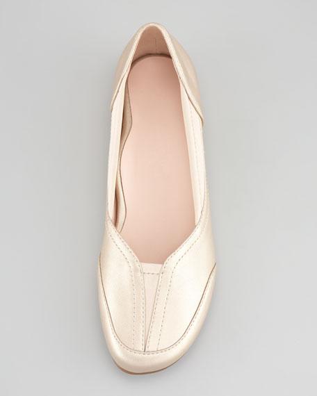 Thalian Gored Slip-On Loafer, Soft Gold