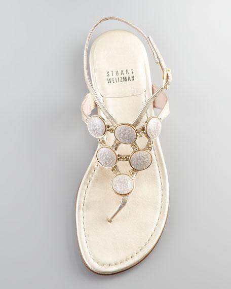 Bingo Coin Ornament Thong Sandal, Gold