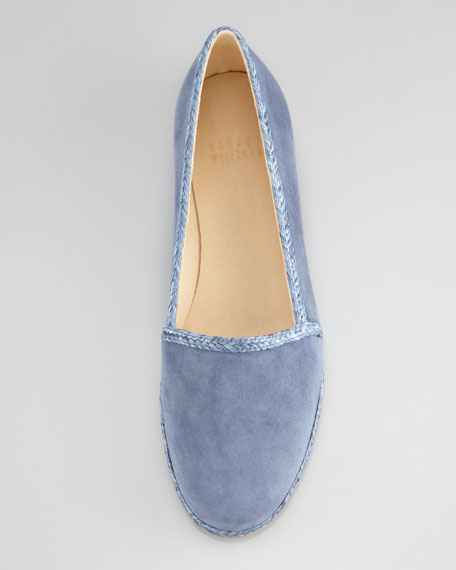 Suede Raffia-Trim Slip-On, Blue Jean