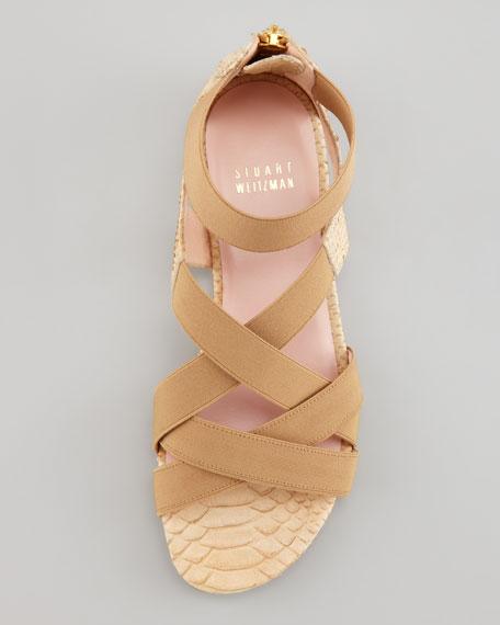 Lasting Elastic Snake-Embossed Flat Sandal, Honey
