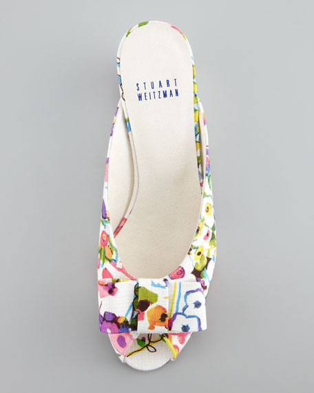 Candy Floral Linen Slip-On Sandal