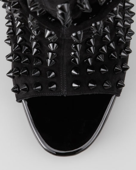 Guerilla Studded Open-Toe Red Sole Bootie
