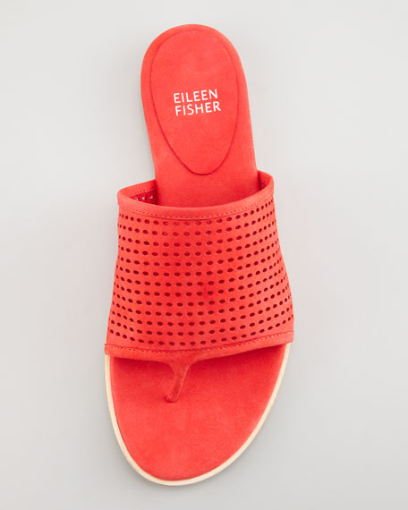 Perforated Leather Thong Sandal, Red