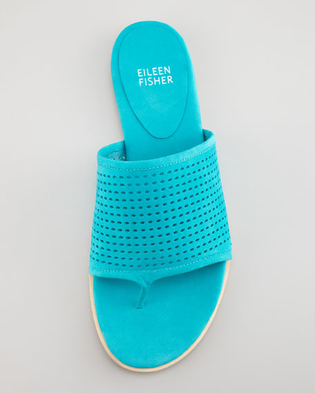 Perforated Leather Thong Sandal, Turquoise