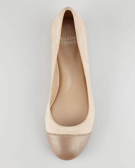 Cap-Toe Internal-Wedge Ballerina Flat, Bronze