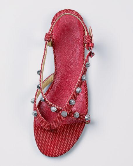 Crisscross Cotton Canvas Flat Sandal