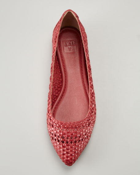 Regina Woven Leather Skimmer Flat, Burnt Red