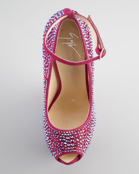 Crystal-Covered Exaggerated Wedge Platform Pump