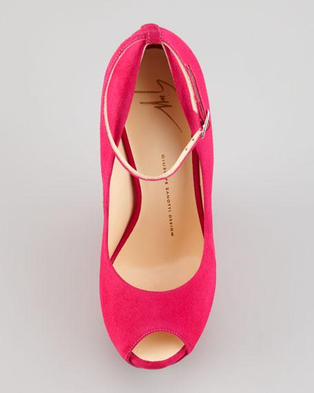 No-Heel Ankle-Strap Pump, Fuchsia
