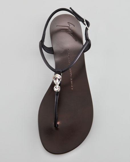 Drop Stone Thong Sandal, Black