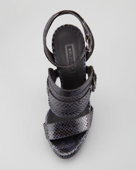 Ankle-Wrap Python Sandal, Dark Blue
