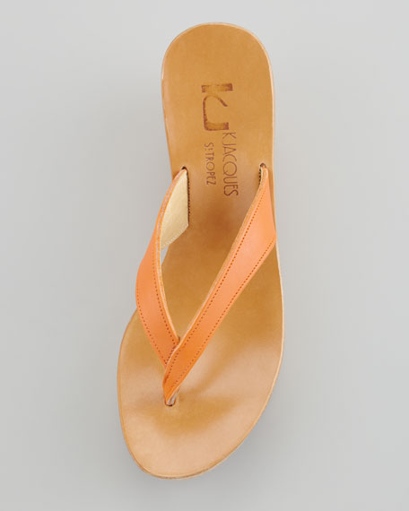 Diorite Cork Wedge Thong, Mandarin Orange