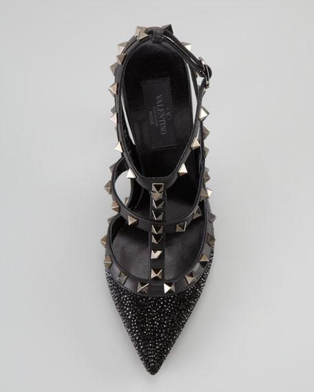 Noir Rockstud Caviar Crystal Sandal