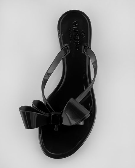 PVC Bow Thong Sandal, Black