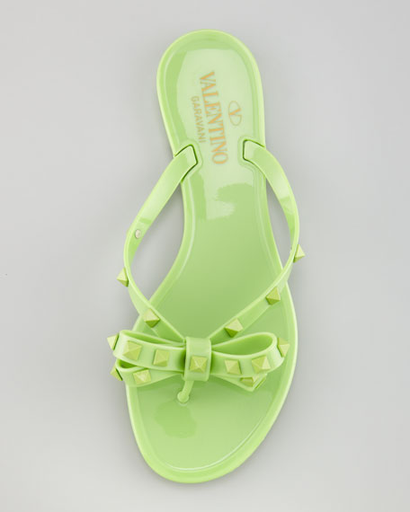 Rockstud PVC Thong Sandal, Apple
