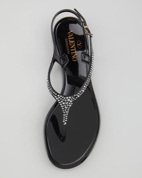 Crystal-Encrusted PVC Sandal, Black