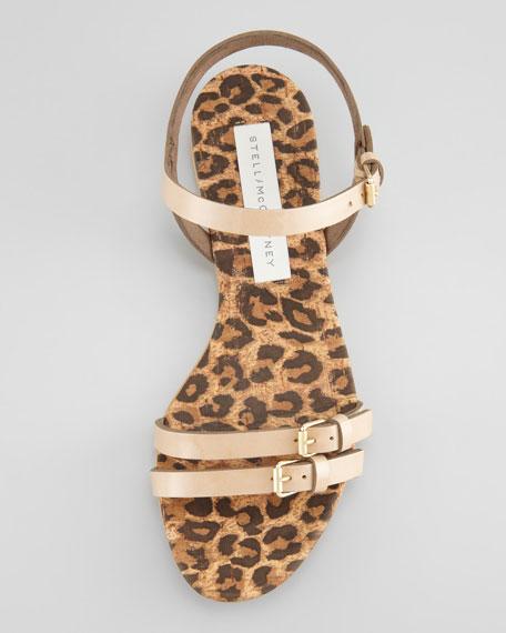 Leopard-Print Cork Flat Sandal