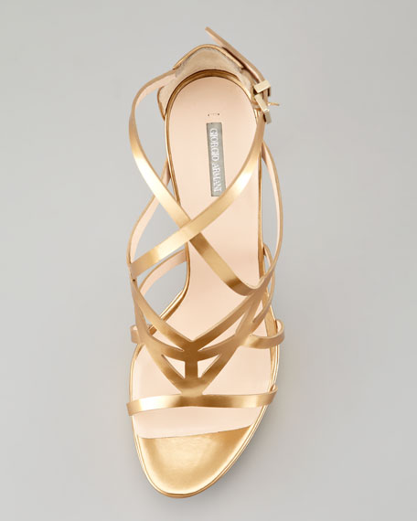 48ceee971d91 Giorgio Armani Matte Metallic Strappy Platform Sandal