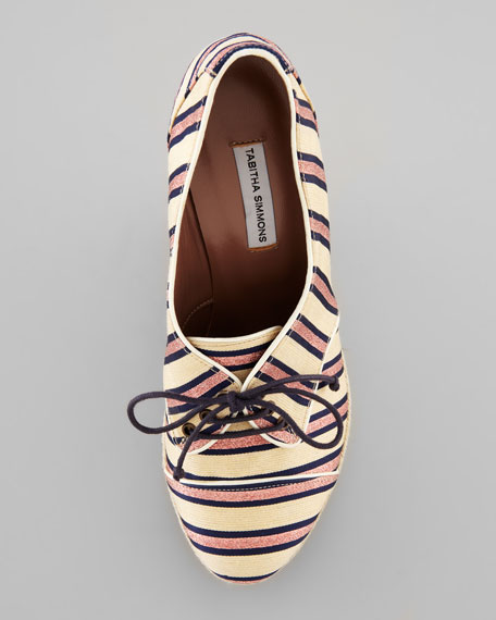 Tie Striped Oxford Wedge, Pink/Navy