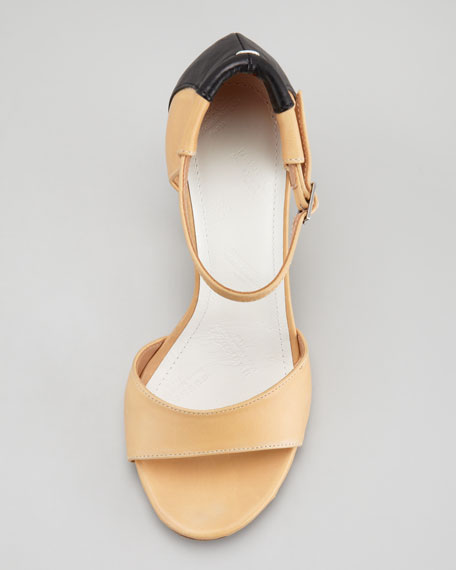 Trompe l'Oeil Leather Sandal, Cream/Black