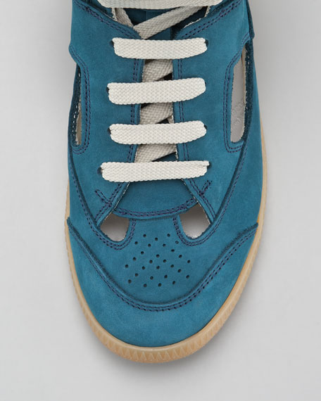Cutout High-Top Sneaker, Blue